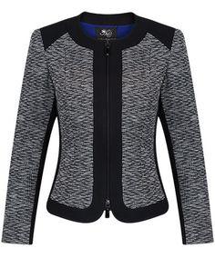 Black and Ivory Zip Front Jacquard Panel Jacket - Anthea Crawford   Australia