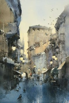 Early morning in Aosta 54 x 37 cm , Watercolor demo by Chien Chung-Wei Watercolor City, Watercolor Artists, Watercolor Landscape, Watercolour Painting, Painting & Drawing, Landscape Paintings, Watercolor And Ink, Watercolors, Watercolor Architecture