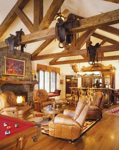 Western Room Ideas | Billiards tables in easy proximity to casual seating creates an ...