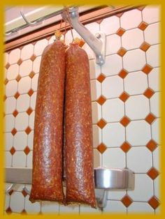 """Mettwurst """"Rohwurst"""" is a sausage type in which raw meat is mixed with spices, curing agents (pink salt) and sometimes cured meat (bacon) and then smoked or fermented to preserve it. Sometimes the sausage is both smoked and preserved. Homemade Summer Sausage, Summer Sausage Recipes, Homemade Sausage Recipes, Salami Recipes, Smoked Meat Recipes, Deer Recipes, Dog Food Recipes, Chorizo, Charcuterie"""