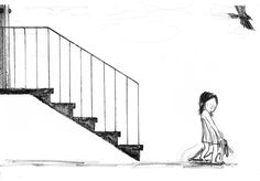"""En """"El pájaro negro"""" la protagonista se enfrenta al conflicto y a la soledad, y encuentra en la imaginación la evasión que le permite reencontrarse consigo misma. #SuzyLee Suzy, Illustrator, Concept, Books, Illustrations, Loneliness, Libros, Book, Book Illustrations"""