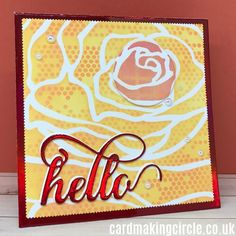 A hello card created with the double stencilling technique. Used the mega rose stencil from Altenew and the mini tiny circles from the Crafters Workshop.#doublestencillingtechnique#stencillingtechniques#altenew#cardmakingtechniques#cardmakingcircle Cloud Stencil, Rose Stencil, Stencilling Techniques, Mandala Stencils, Distress Oxide Ink, Mft Stamps, Plastic Sheets, Card Making Techniques, Altenew