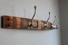 Repurposed oak wine stave coat rack by CrushBarrelCreations, $55.00