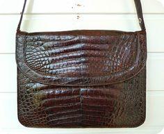 Vintage Kroko Leder Tasche mit IRV Siegel Schultertasche Leather Bag Mad Men 60s | eBay