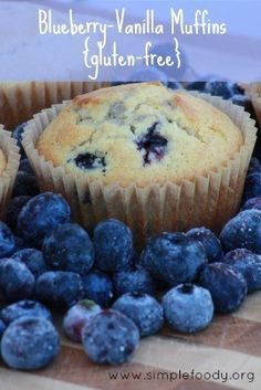 Delicious #Gluten_Free Blueberry Vanilla Muffins #Recipe