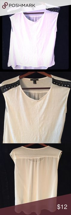 Essential Studded Tank in Chiffon White Studded tank top. Size large.                                ✔️Excellent Condition✔️                                               ✅Open to offers!!✅                                                              ✅FAST Shipping✅.                                                                                ❌No Trades❌                                                                        🛍For offers, use the offer button🛍 Forever 21 Tops Tank Tops