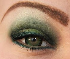 Matching eye colour to eye shadow makes the eye look less colourful. It can't compete with bright cosmetic pigments. Choosing one the less bright greens in the eye, as hazel or khaki would make the eyes to look much more green, and the eyeshadow look grayer, like the native shadow colour. Far more sophisticated.