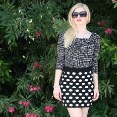 Polkadotted skirt black white dots pencil Gorgeous skirt that fits both small or medium (very stretchy!) tag says med. worn only twice. Skirts