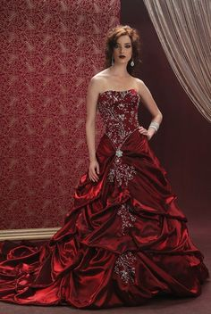 Are you looking for red wedding dresses? It takes a special bride to wear one. Read these tips and view the red wedding gown gallery. Red Wedding Dresses, Wedding Gowns, Prom Dresses, Formal Wedding, Bridal Gowns, Wedding Ceremony, Bridesmaid Dresses, Red And White Weddings, The Bride