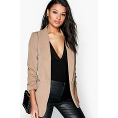 Boohoo Blythe Ruched Sleeve Blazer ($44) ❤ liked on Polyvore featuring outerwear, jackets, blazers, camel, longline blazer, wrap jacket, blazer jacket, bomber puffer jacket and camel blazer