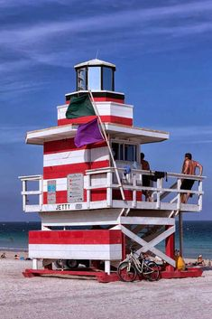 Another Red, White and Blue Lifeguard Tower -One of all with unique architecture, along the eight and a half mile stretch of Miami Beach. Indian Creek, South Beach Miami, Packing Tips For Travel, Europe Packing, Traveling Europe, Backpacking Europe, Packing Lists, Travel Hacks, Travel Essentials