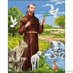 Saint François d'Assise (Saint Francis of Assisi) From Royal Paris - Tapestry and Canvases - Kits - Casa Cenina Francis Of Assisi, St Francis, Rosary Mysteries, Clare Of Assisi, Life Of Jesus Christ, St Clare's, St Therese Of Lisieux, Romantic Manga, San Francisco