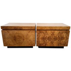 Pair of Milo Baughman Burl Nightstands   From a unique collection of antique and modern cabinets at https://www.1stdibs.com/furniture/storage-case-pieces/cabinets/