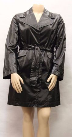 SIENA STUDIO G-III APPAREL Women Black Water Resistant Trench Coat Size L 860189 #SienaStudio #Trench