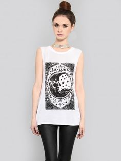 GYPSY WARRIOR White muscle tank featuring a moon tarot card graphic and extra deep armholes with raw edges