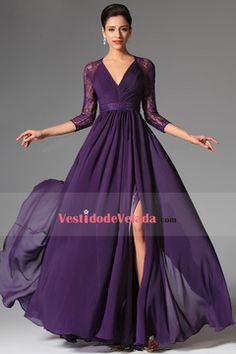 2015 Vestidos de noche Línea A Cuello V 3/4 Longitud de la manga Gasa Volantes Bicolor
