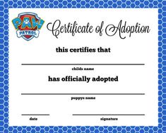 8x10 Paw Patrol Puppy Adoption Certificate You will receive 4 high resolution digital files that you can print anywhere. Your files can be printed anywhere on any printer. Looks best on cardstock. No physical items will be shipped to you as this listing is for a high resolution JPEG file you print. If you have questions or need help please feel free to message my shop. ** Template NOT sold, only a completed personalized high resolution jpeg is provided.