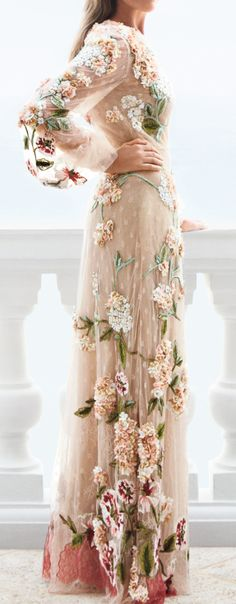 Floral and lace long sleeve gown