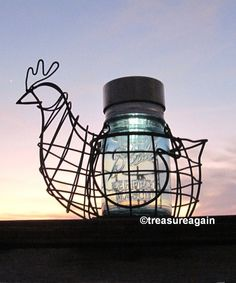 Chicken Mason Jar Solar Light Vintage Blue Ball by treasureagain  http://etsy.me/1C21R7q