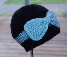 Bow Hat/Crochet Baby Hat/Girls Beanie/Pink/Blue. $18.00, via Etsy.