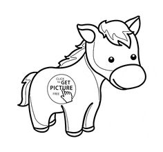 Cute Little Horse Pony coloring page for kids, for girls coloring pages printables free - Wuppsy.com