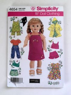 Simplicity 4654 Sewing Pattern 18 Inch Doll Clothes Romper Dress Skort New Uncut