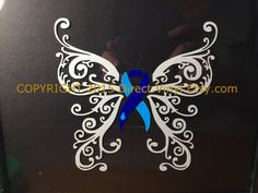 Grey and Light Blue Awareness Ribbon Fancy Butterfly Window Decal (Type 1 Diabetes) Diabetes Tattoo Type 1, Type 1 Diabetes, Diabetes Month, Diabetes Ribbon, Diabetes Awareness Ribbon, Awareness Tattoo, Cancer Awareness, Cancer Tattoos, Thyroid Cancer Tattoo