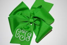 Embroidered Monogram Hair Bow Personalized Preppy Boutique Accessory. $10.00, via Etsy. Just bought this one (: perfect Crestridge colors!