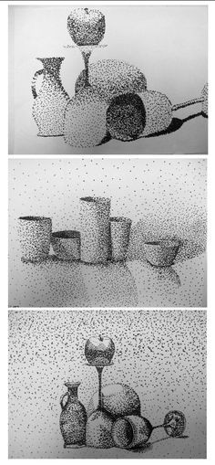 Lijn: punt Drawing Lesson on Stippling. Do still life drawing in pencil first, then stippling w/Sharpie. Drawing Projects, Drawing Lessons, Stippling Drawing, Still Life Drawing, Still Life Pencil Shading, School Art Projects, Elements Of Art, Art Lesson Plans, Art Classroom
