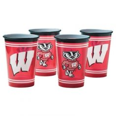 Wisconsin Badgers 4 Pc. Plastic Cup Set - Mills Fleet Farm