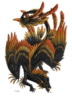 Orkano by Sunima on DeviantArt Fantasy Creatures, Mythical Creatures, Feathered Dragon, Phoenix Dragon, Dragon Heart, Cool Dragons, Dragon Images, Black Cartoon, Mermaids And Mermen
