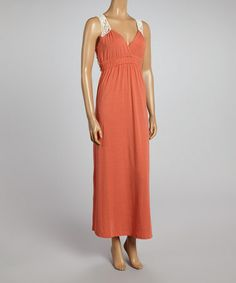 Look what I found on #zulily! Coral Sherbet & Ivory Crocheted V-Neck Maxi Dress by Poof! #zulilyfinds