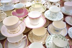 Vintage teacups with small bouquets of flowers would make a beautiful centerpiece