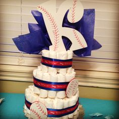 Baseball diaper cake I made for my cousin baby Keegan!⚾️