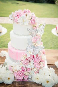 Pink Summer Wedding Cake