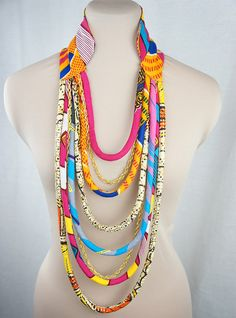 Pink & Yellow Multi strand African Necklace - African Wax print Necklace…