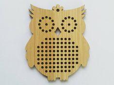 Owl cross stitch blank, wood pendant blank, needle craft pendant brooch necklace button. DIY cross stitch.