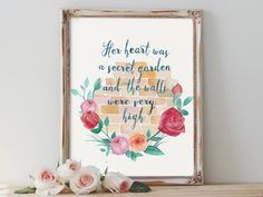 REPIN NOW for later! Her Heart Was Secret Garden Wall Art Printable The Princess Bride Quote Print Literary Quotes Valentine Gift Home Decor Digital Download by DigartDesigns on Etsy