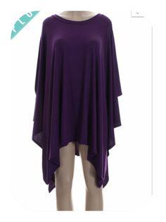 New Plus Size Purple Long Sleeve Draped Poncho Tunic Top Size 3X
