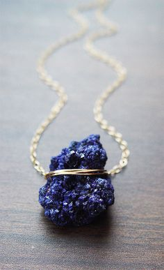 Moroccan Azurite Gold Necklace Navy Blue by friedasophie on Etsy