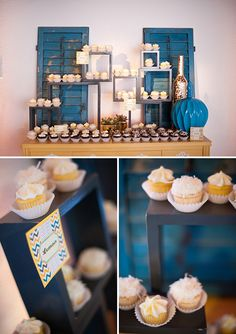 Great party setup vignettes at this blue and yellow themed shower