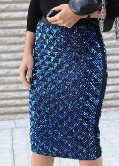 love this metallic blue skirt with tuxedo stripe!  Street style