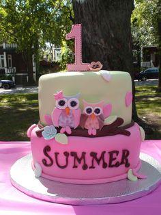 girl owl cakes | little girl owl 1st birthday
