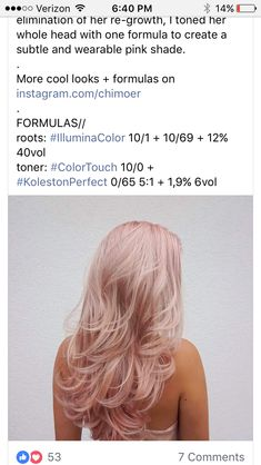 New Hair Color Blonde Pastel Haircolor Ideas Rose Hair, Pink Hair, Hair Color Wheel, Hair Color Formulas, Hair Toner, Hair Color Techniques, New Hair Colors, Blonde Color, Dyed Hair
