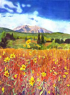 Colorado tattoo inspiration, watercolor of kebler pass, Colorado.  But I want a lake or pond in it. And a field full of flowers