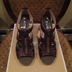 NEW MK PURPLE HEELS New purple MK heels in box, super cute with zip in front Michael Kors Shoes Heels