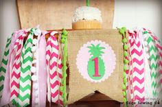 PINEAPPLE Birthday High Chair Highchair Banner by RawEdgeSewingCo