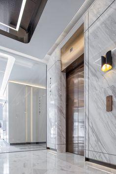 H Zentre — CL3 Lobby Interior, Office Interior Design, Best Interior, Office Interiors, Interior Architecture, Home Room Design, House Design, Elevator Lobby Design, Cladding Design