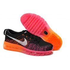 size 40 4f8b6 9f40d Billige Nike Flyknit Air Max Orange Sort Dame Sko Skobutik   Bedst Nike  Flyknit Air Max