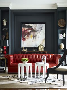 Diana Parrish Design and Photography + Emerson et Cie via Masins Fine Furniture (Red couch & dark gray wall w/ abstract painting) My Living Room, Home And Living, Living Spaces, Red Living Room Decor, Modern Living, Sofa Design, Design Design, Design Trends, Interior Design Inspiration